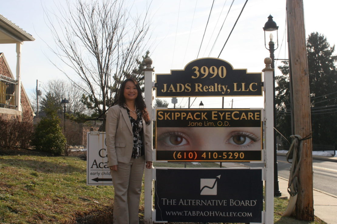 Dr. Jane Lim stand at Skippack Eyecare