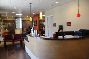 Front desk and waiting area of Skippack Eyecare